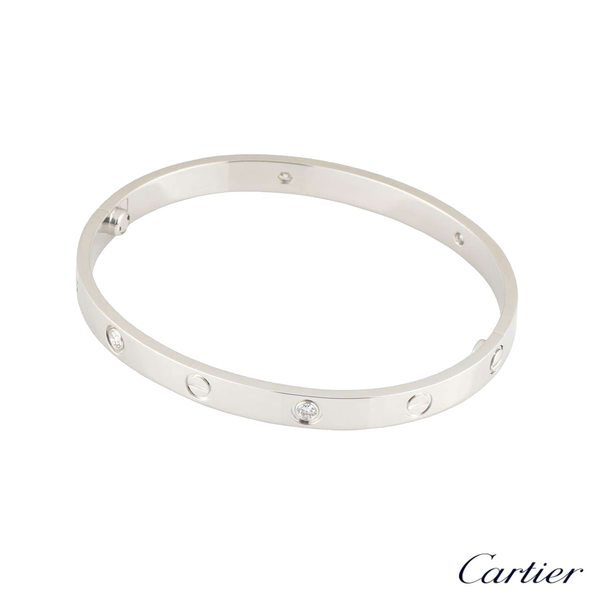 Cartier White Gold Half Diamond Love Bracelet Size 17 B6035817